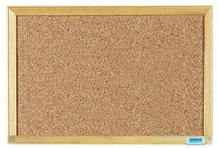 "Aarco Products EB1218 Economy Series Natural Pebble Grain Cork Bulletin Board with Wood Frame. 18""W x 12""H"