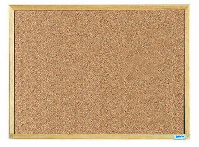 "Aarco Products EB1824 Economy Series Natural Pebble Grain Cork Bulletin Board with Wood Frame, 18""H x 24""W"