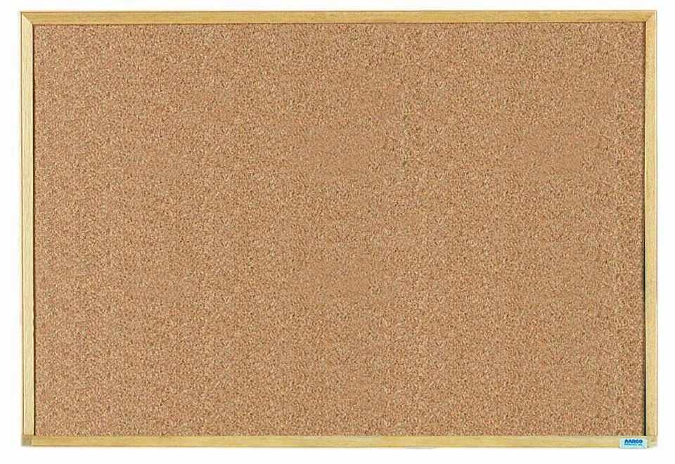 "Aarco Products EB2436 Economy Series Natural Pebble Grain Cork Bulletin Board with Wood Frame, 24""H x 36""W"