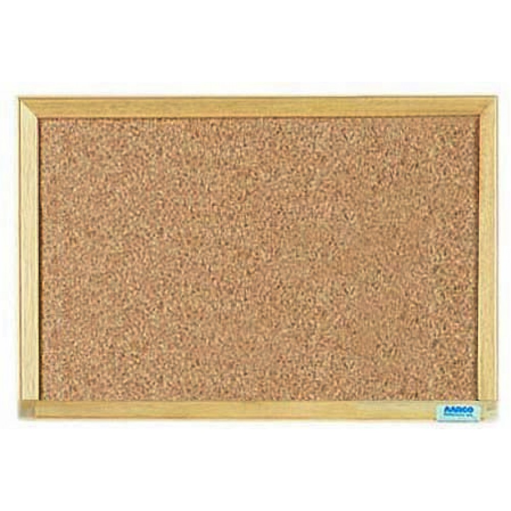 "Aarco Products EB1218 Economy Series Natural Pebble Grain Cork Bulletin Board with Wood Frame. 2""H x 18""W"