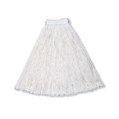 Economy Wet Mop Heads, Rayon, Cut-End, White, 24 oz. Rayon, 1-in. White Headband
