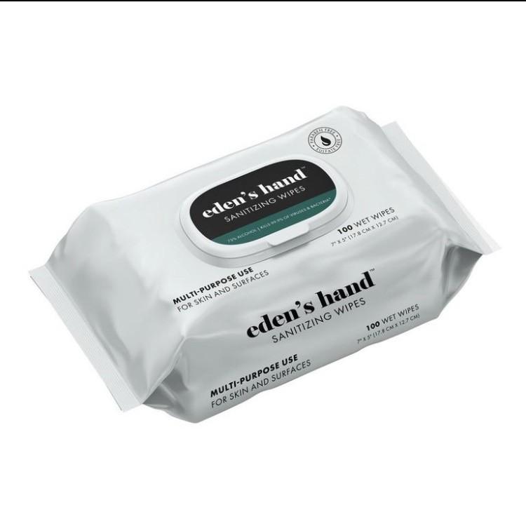 Eden's Hand Sanitizing Wipes, 100 Pack