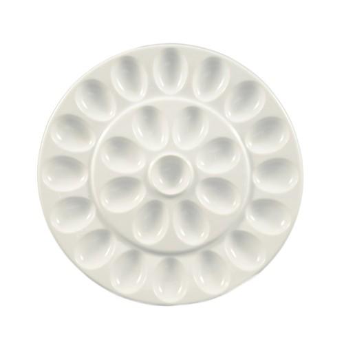 "CAC China PEG-R21 White China Egg Plate 13"""
