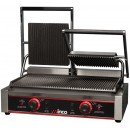 Winco EPG-2 Double Commercial Panini Press with Cast Iron Grooved Plates