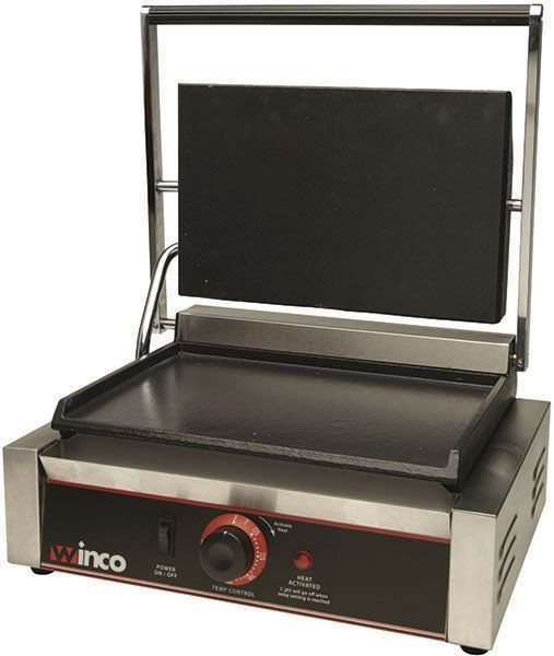 Winco esg-1 Single Commercial Panini Press with Cast Iron Smooth Plate