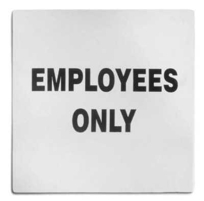 "Stainless Steel Employees Only Sign, 5"" x 5"""