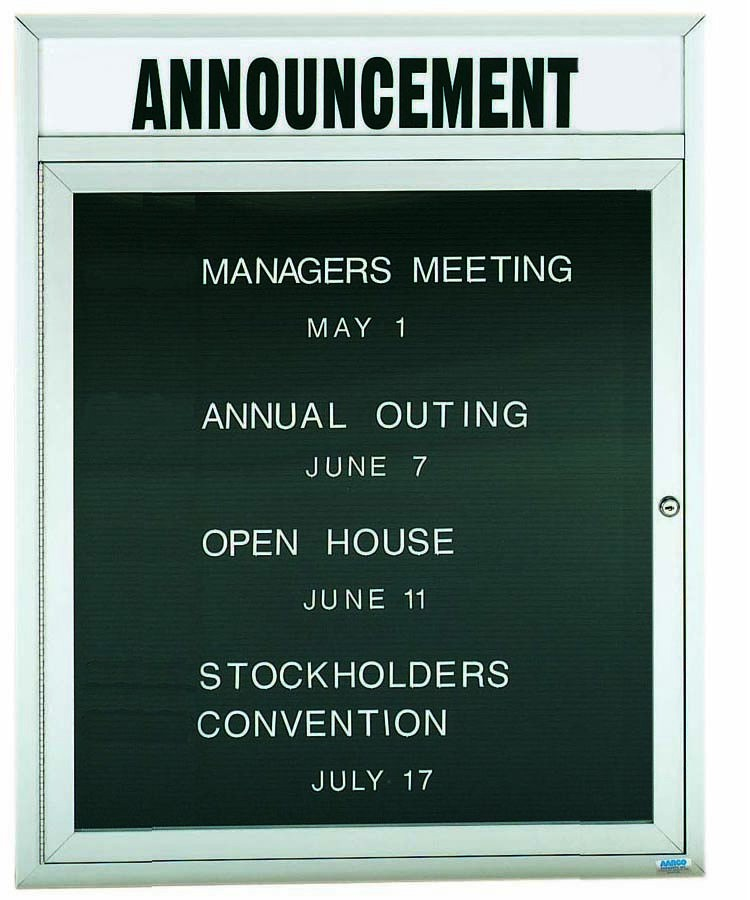 "Aarco Products ADC3630H 1-Door Enclosed Aluminum Directory Cabinet with Header, 36""H x 30""W"