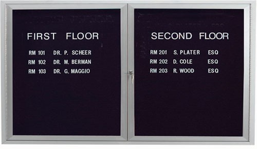 """Aarco Products ADC3660L 2-Door Enclosed Aluminum Directory Cabinet, 36""""H x 60""""W"""