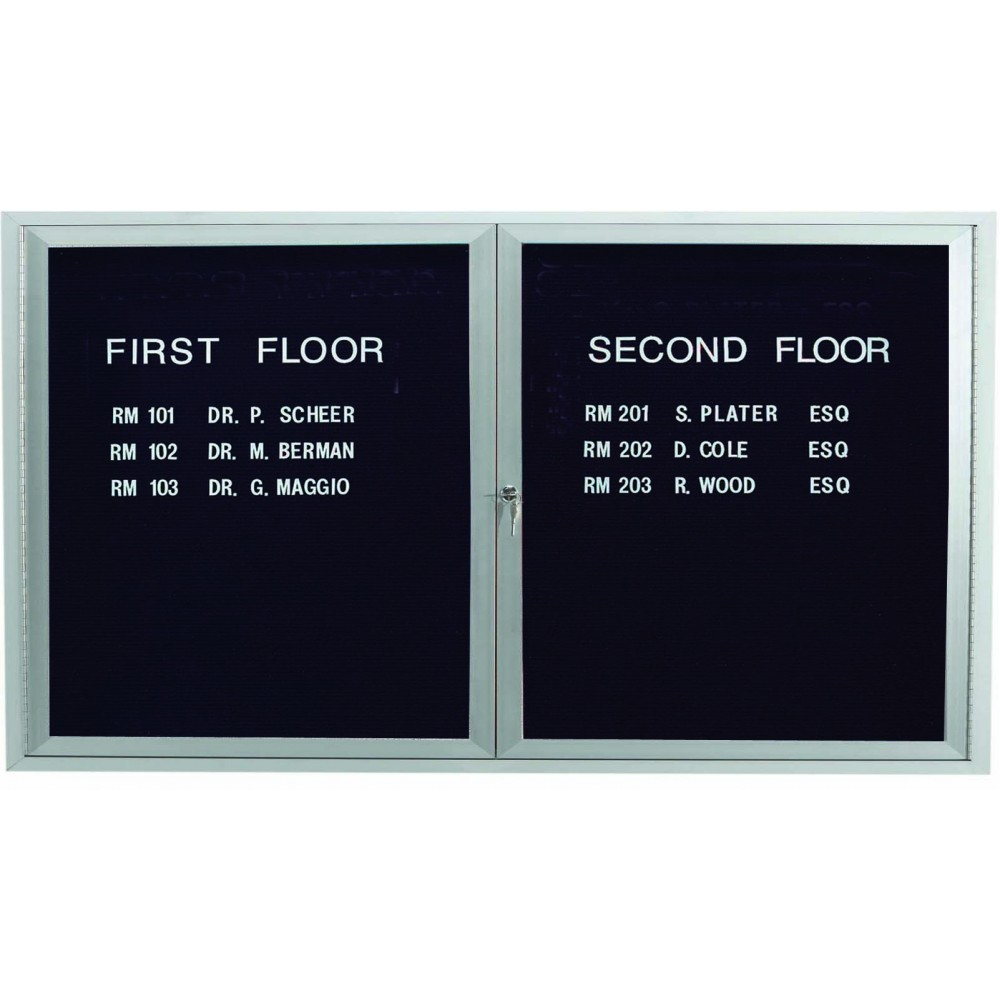 "Aarco Products ADC3660I 2-Door Enclosed Aluminum Illuminated Directory Cabinet, 36""H x 60""W"