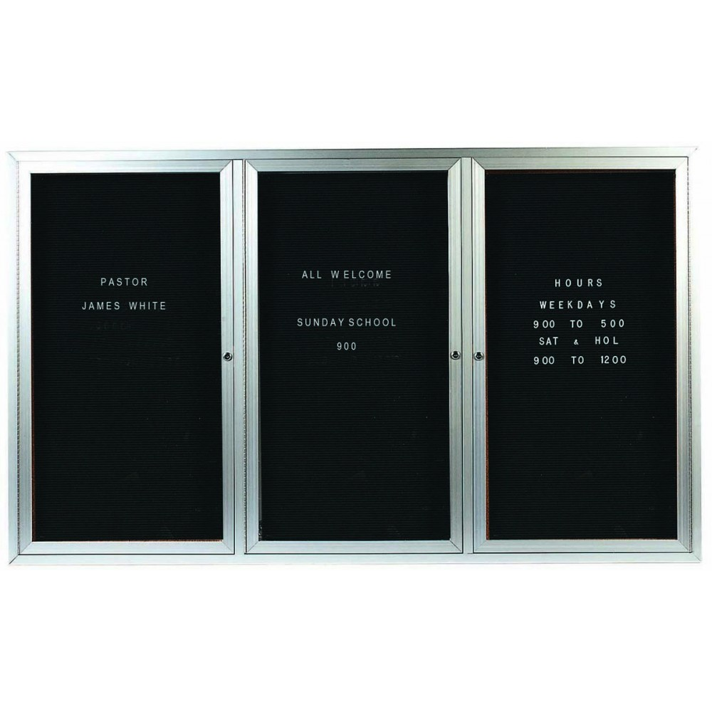 "Aarco Products ADC4872-3 3-Door Enclosed Message Cabinet, 48""H x 72""W"