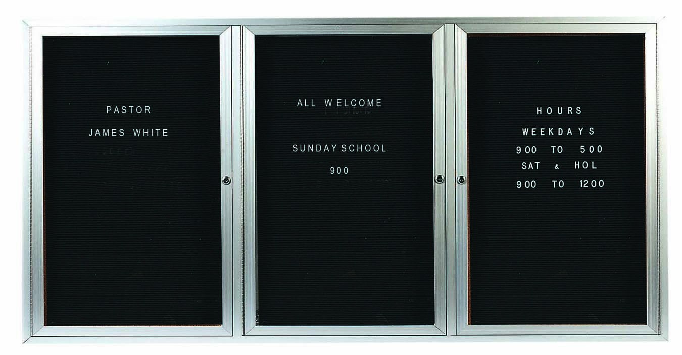 "Aarco Products ADC4896-3I 3-Door Enclosed Aluminum Illuminated Directory Cabinet, 48""H x 96""W"