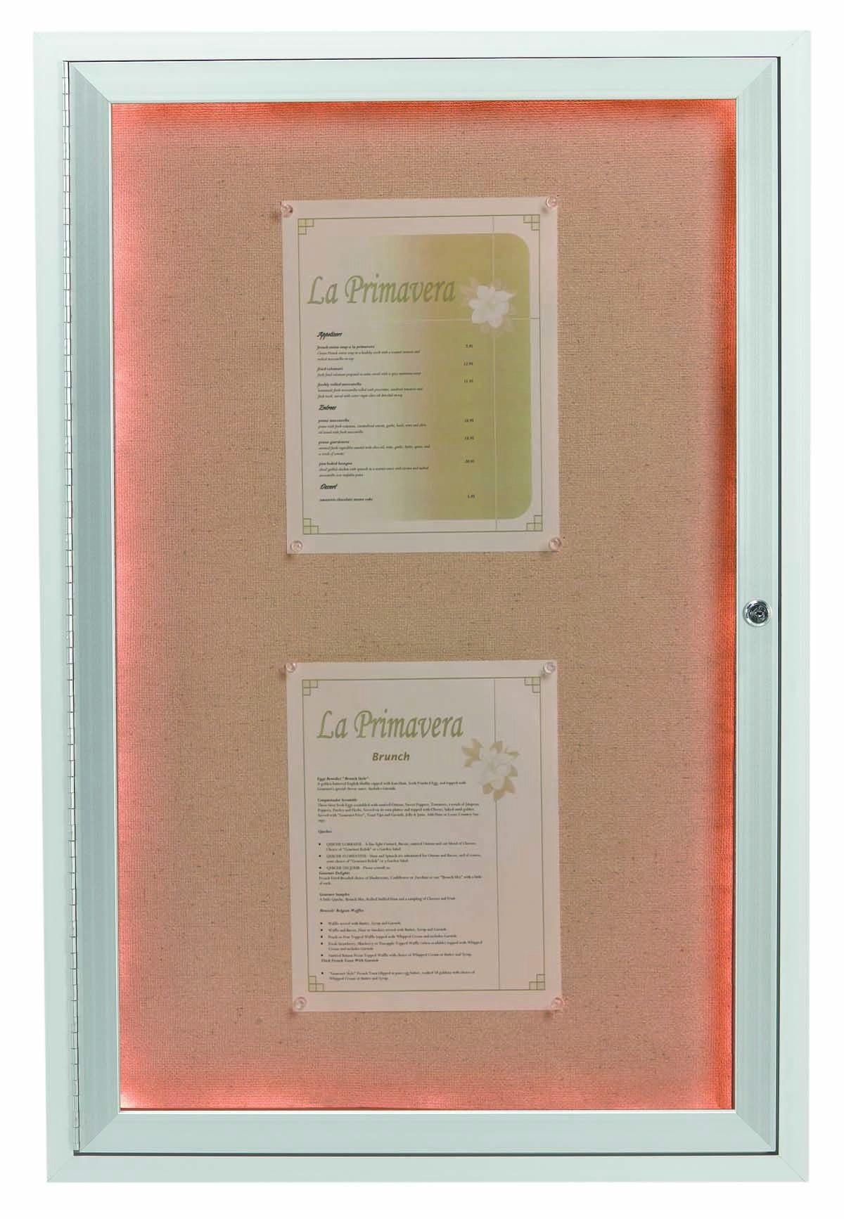 """Aarco Products DCC2418RI 1 Door Indoor Illuminated Enclosed Bulletin Board with Aluminum Frame, 24""""H x 18""""W"""