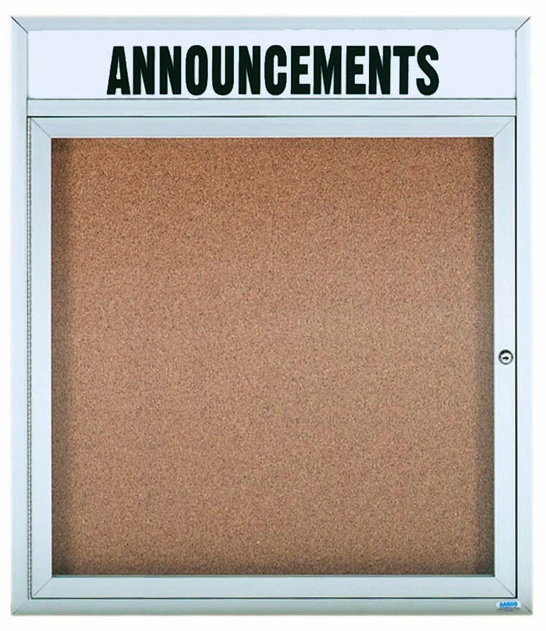 "Aarco Products DCC3630RHI 1 Door Indoor Illuminated Enclosed Bulletin Board with Aluminum Frame and Header, 36""H x 30""W"