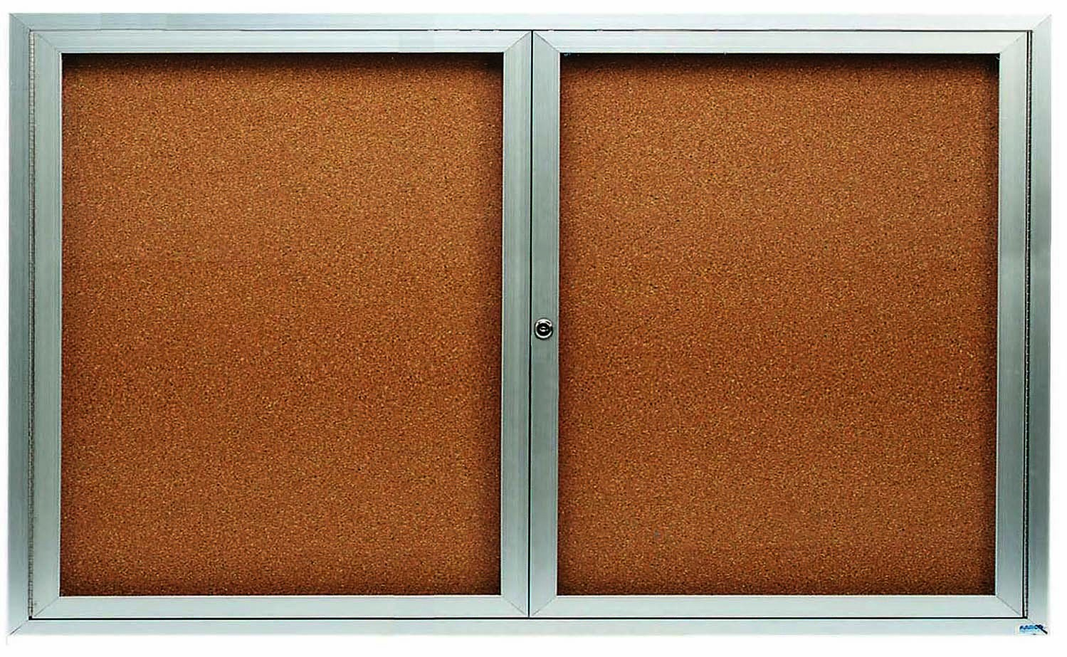 Enclosed Aluminum Illuminated Indoor 2-Door Bulletin Board Cabinet - 36