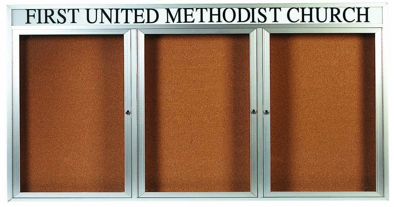 "Aarco Products DCC3672-3RHI 3 Door Indoor Illuminated Enclosed Bulletin Board with Aluminum Frame and Header, 36""H x 72""W"