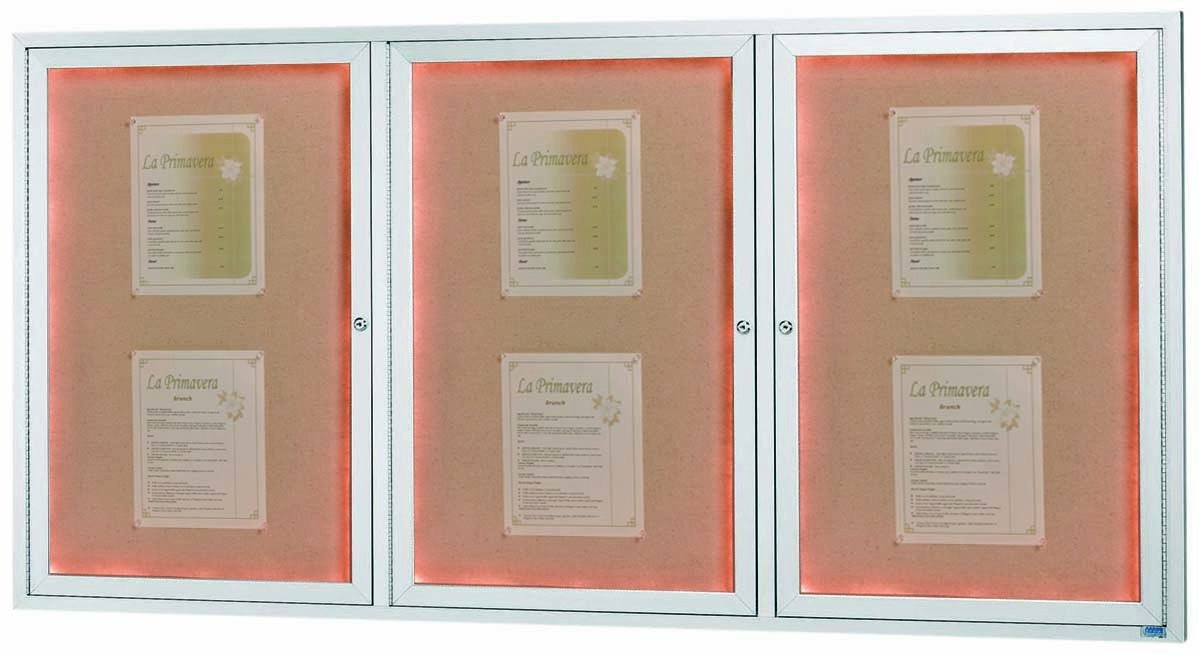 """Aarco Products DCC3672-3RI 3 Door Indoor Illuminated Enclosed Bulletin Board with Aluminum Frame, 36""""H x 72""""W"""