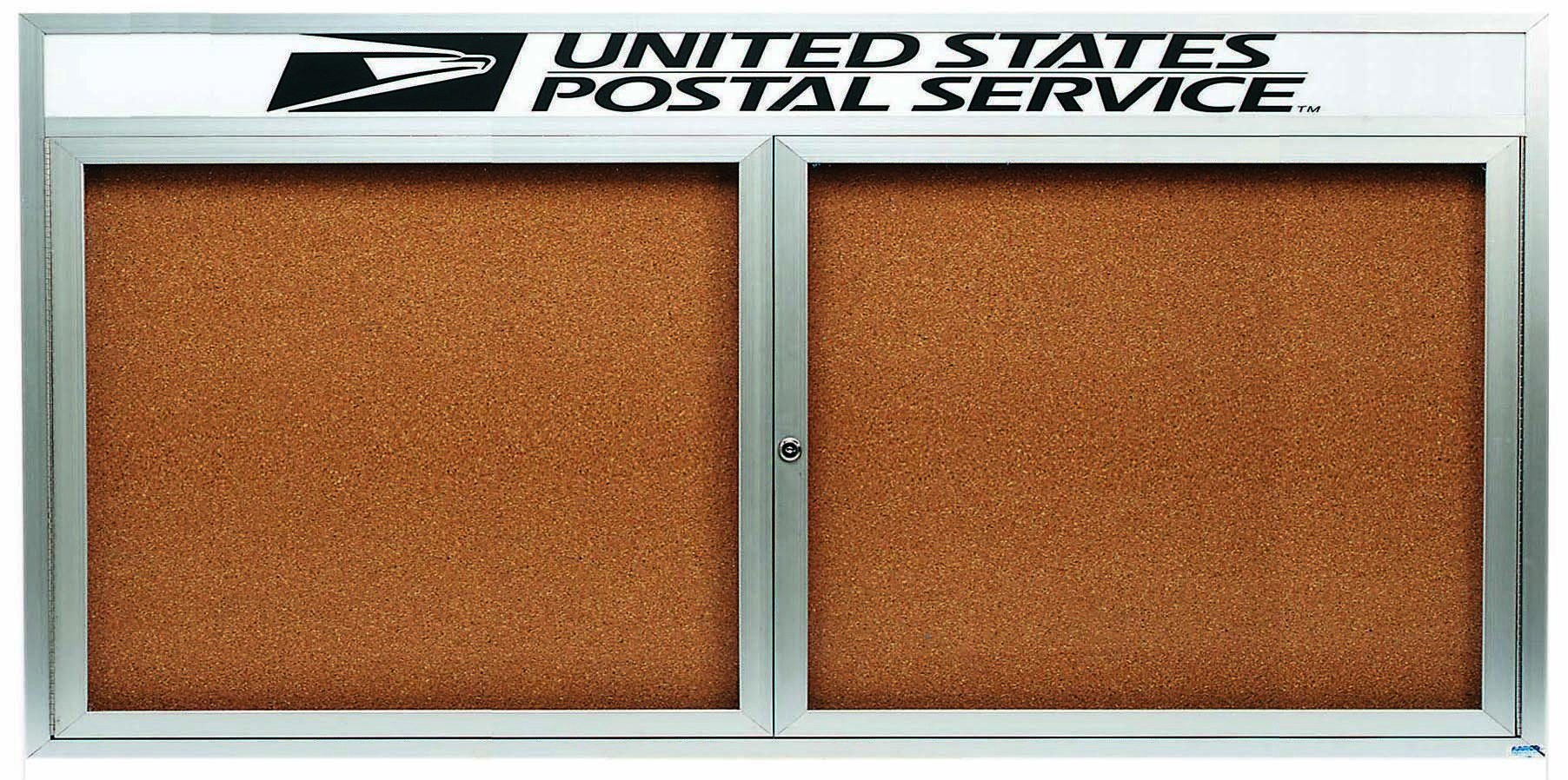"Aarco Products DCC3672RHI 2 Door Indoor Illuminated Enclosed Bulletin Board with Aluminum Frame and Header, 36""H x 72""W"