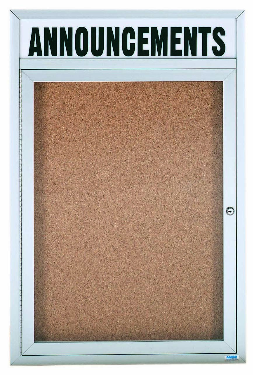 "Aarco Products DCC4836RHI 1 Door Indoor Illuminated Enclosed Bulletin Board with Aluminum Frame and Header, 48""H x 36""W"