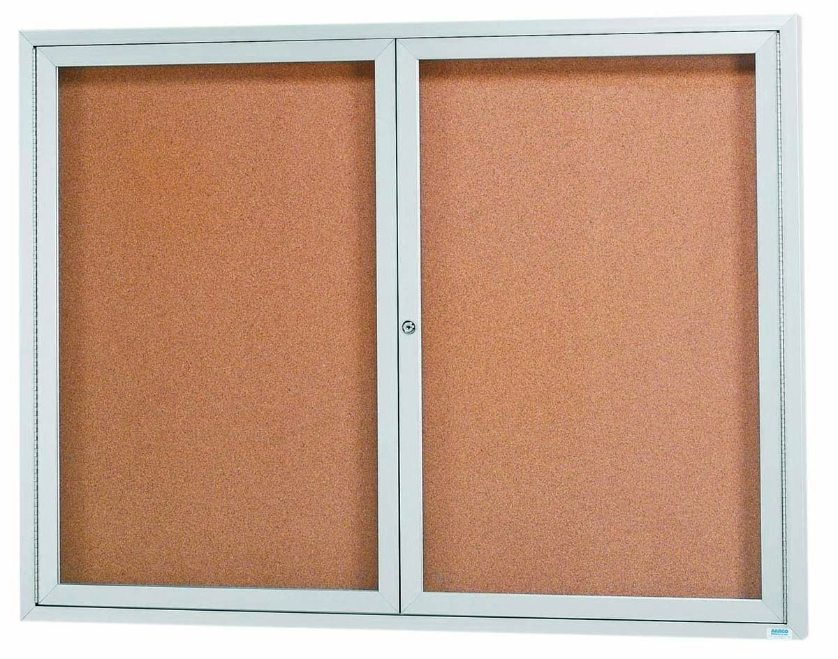 "Aarco Products DCC4860RI 2 Door Indoor Illuminated Enclosed Bulletin Board with Aluminum Frame, 48""H x 60""W"