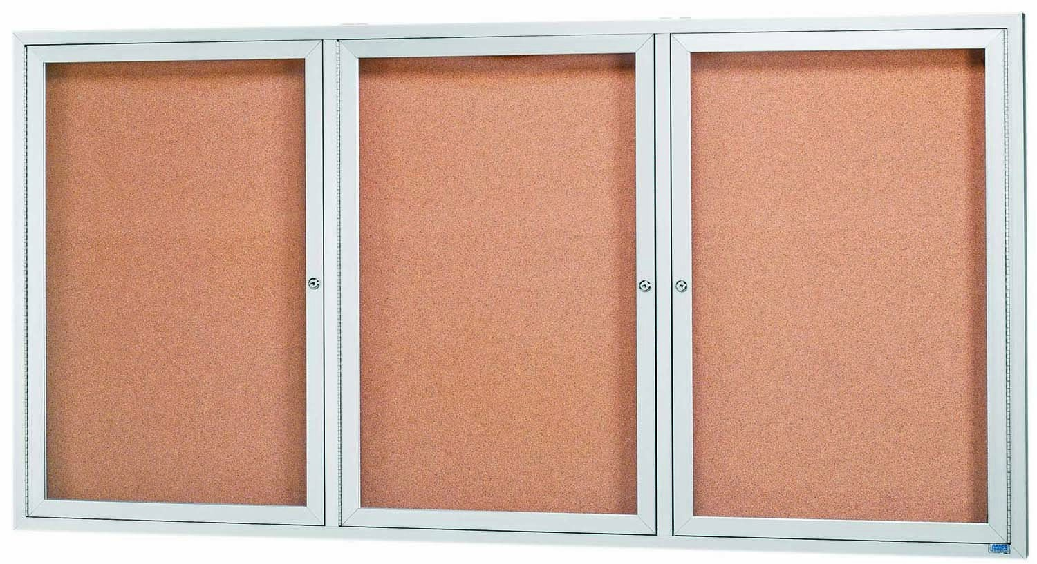 "Aarco Products DCC4896-3RI 3 Door Indoor Illuminated Enclosed Bulletin Board with Aluminum Frame, 48""H x 96""W"