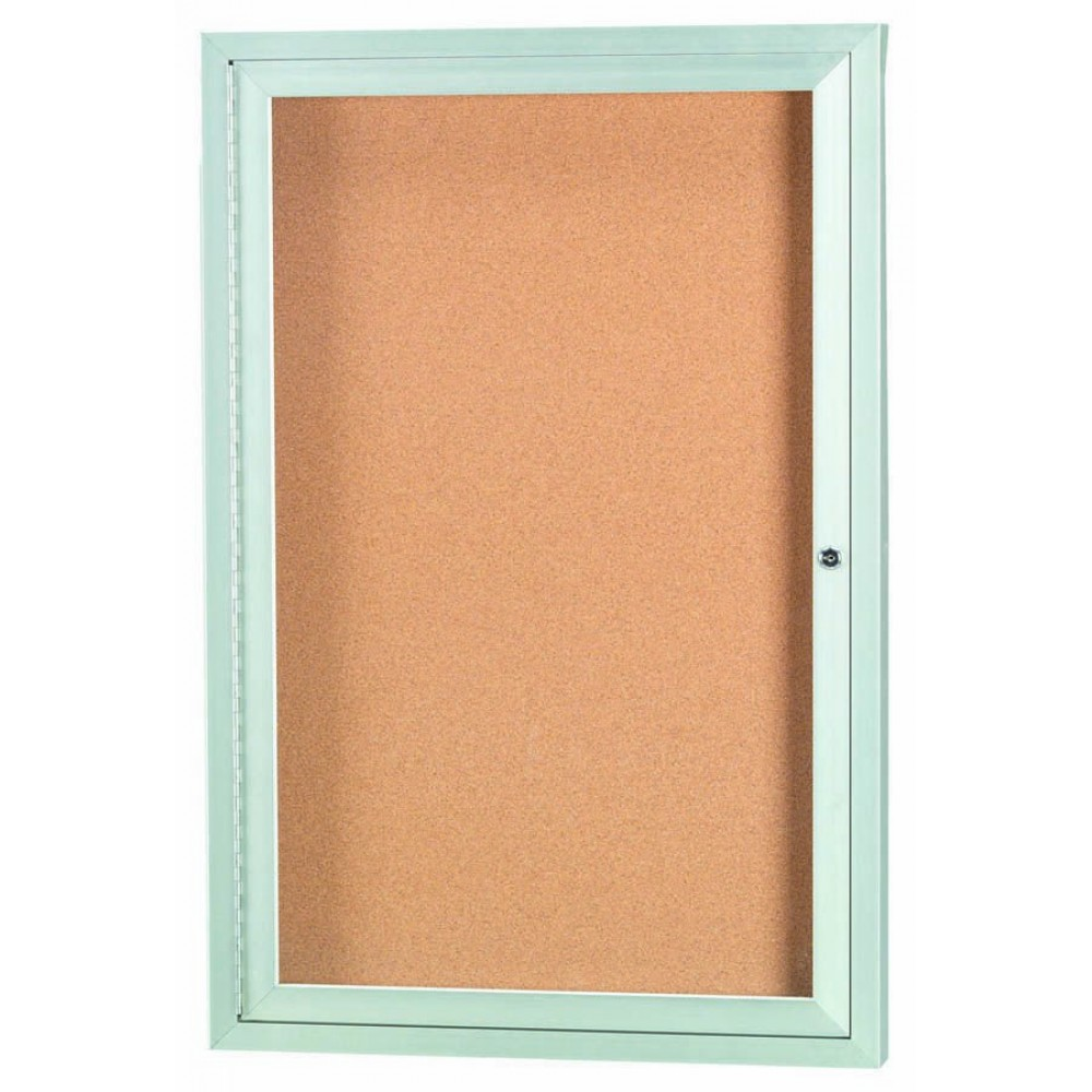 Enclosed Aluminum Illuminated Indoor 1-Door Bulletin Board Cabinet - 36