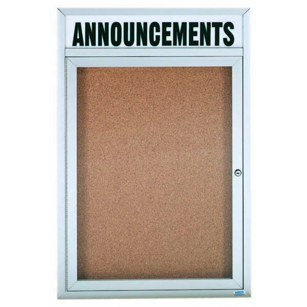 Enclosed Aluminum Illuminated Indoor 1-Door Bulletin Board Cabinet W/header - 24