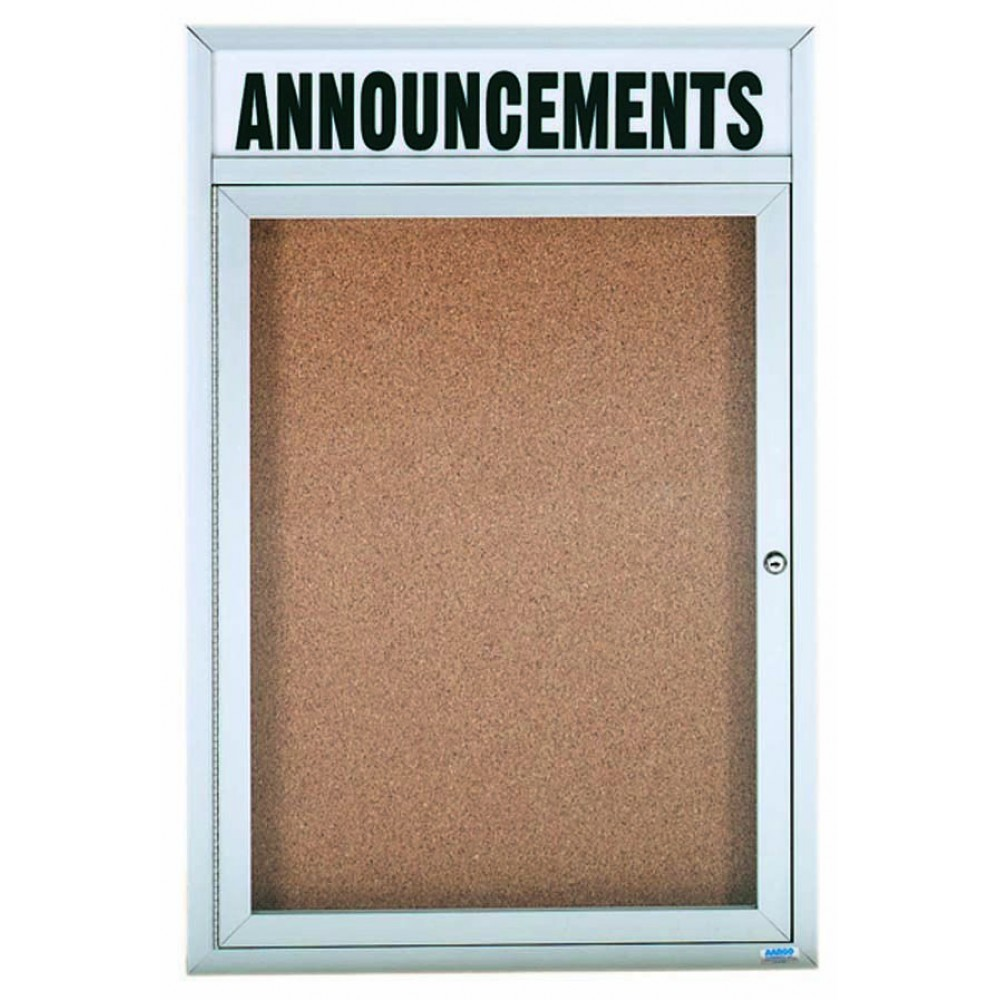 """Aarco Products DCC3624RHI 1 Door Indoor Illuminated Enclosed Bulletin Board with Aluminum Frame and Header, 36""""H x 24""""W"""