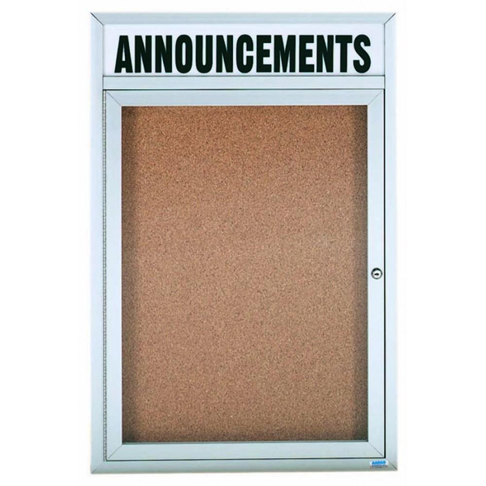 Enclosed Aluminum Illuminated Indoor 1-Door Bulletin Board Cabinet W/header - 36