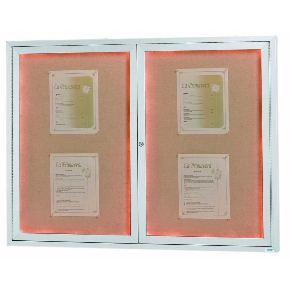 "Aarco Products DCC3648RI 2 Door Indoor Illuminated Enclosed Bulletin Board with Aluminum Frame, 36""H x 48""W"