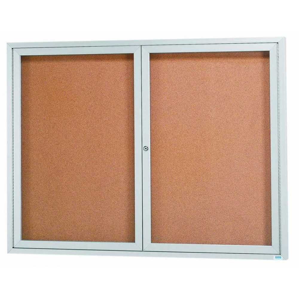 """Aarco Products DCC4860RI 2 Door Indoor Illuminated Enclosed Bulletin Board with Aluminum Frame, 48""""H x 60""""W"""