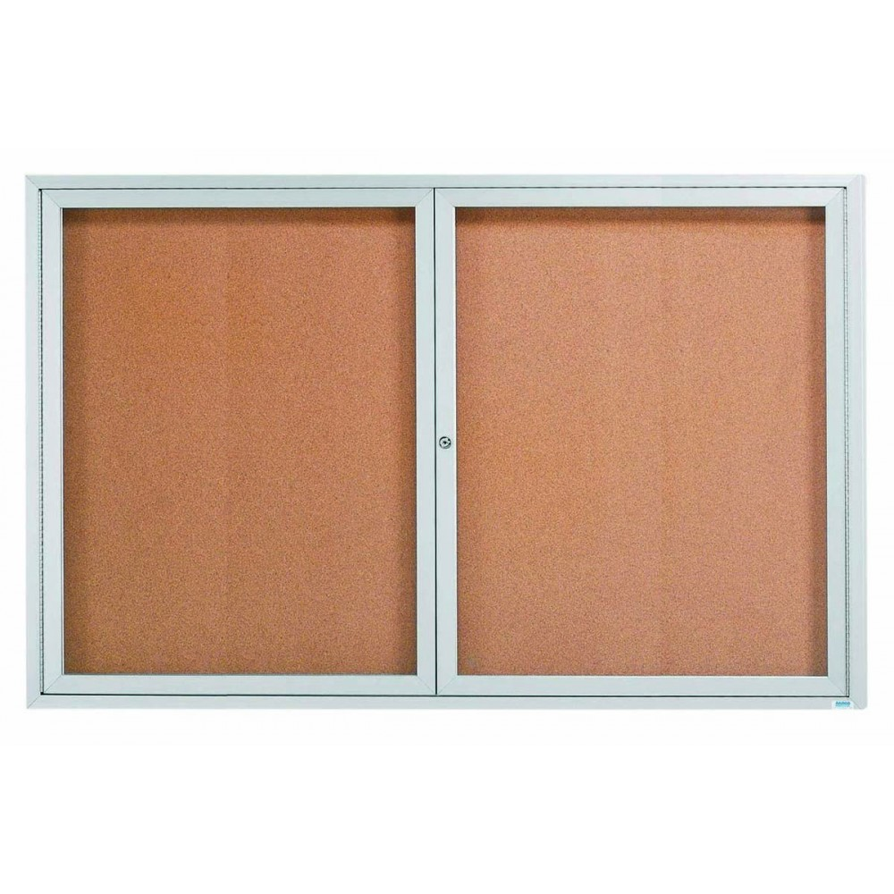 Enclosed Aluminum Illuminated Indoor 2-Door Bulletin Board Cabinet - 48
