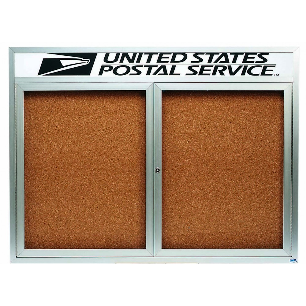 Enclosed Aluminum Illuminated Indoor 2-Door Bulletin Board Cabinet W/header - 36