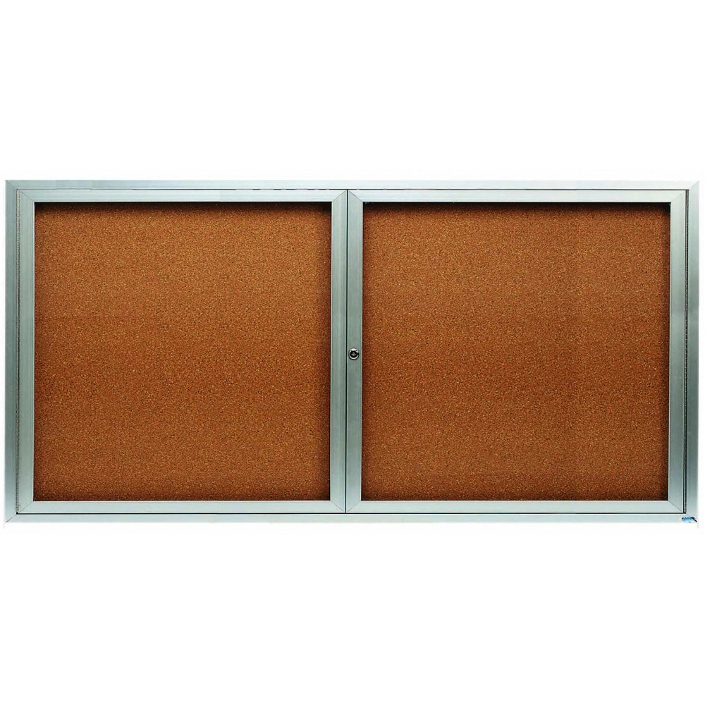 "Aarco Products DCC3672RI 2 Door Indoor Illuminated Enclosed Bulletin Board with Aluminum Frame, 36""H x 72""W"