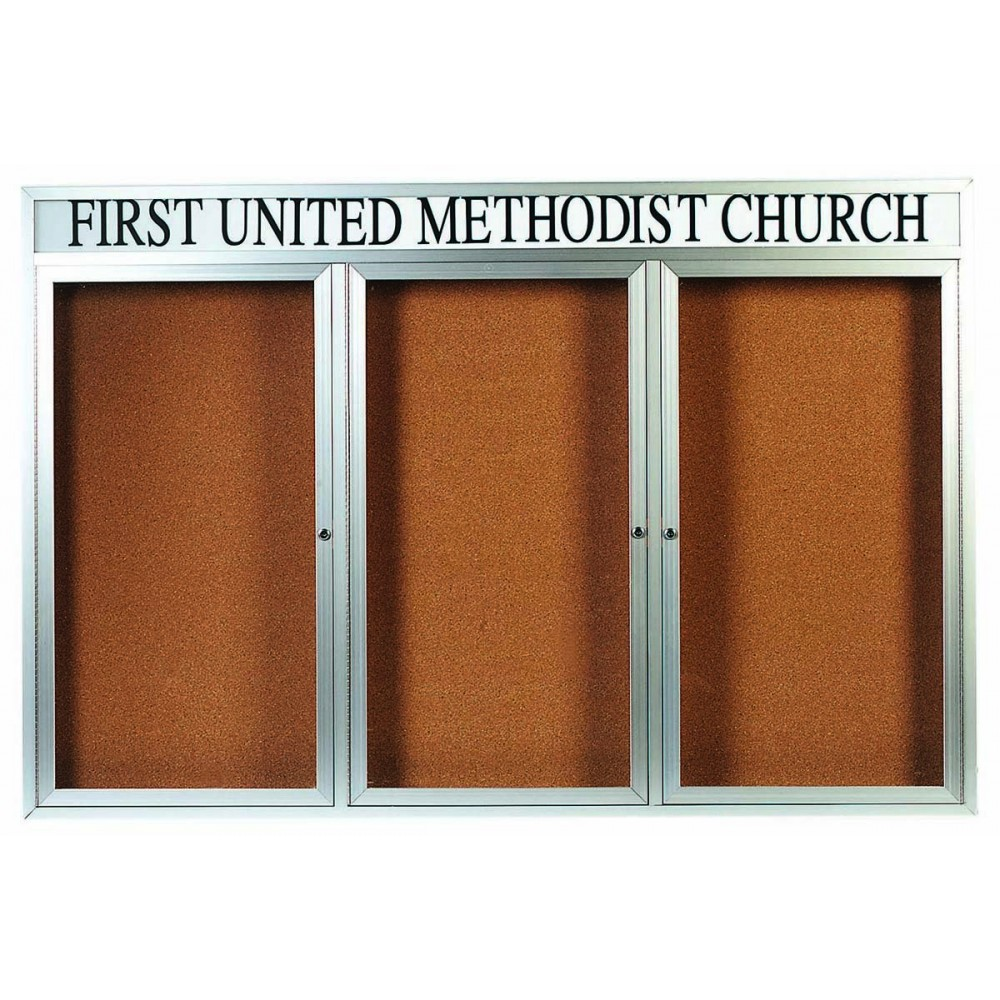 "Aarco Products DCC4872-3RHI 3 Door Indoor Illuminated Enclosed Bulletin Board with Aluminum Frame and Header, 48""H x 72""W"