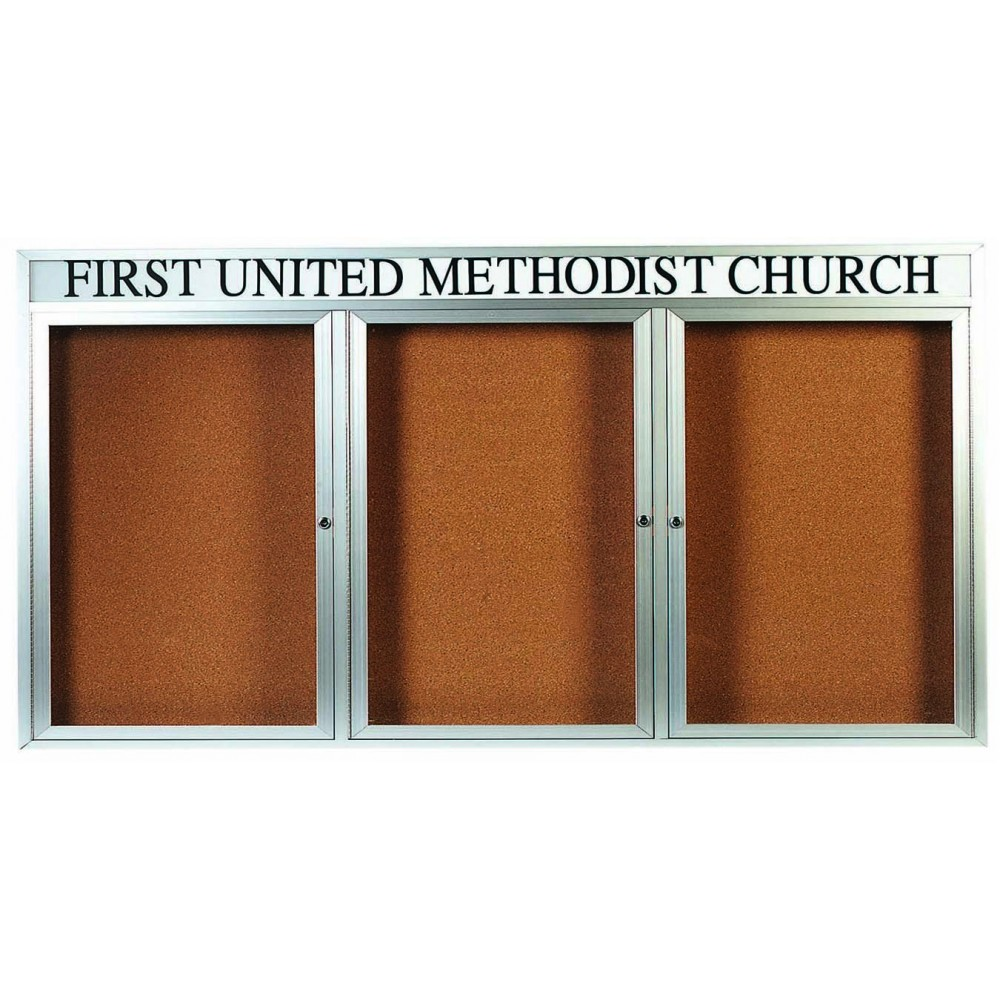 "Aarco Products DCC4896-3RHI 3 Door Indoor Illuminated Enclosed Bulletin Board with Aluminum Frame and Header, 48""H x 96""W"