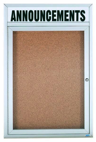 "Aarco Products DCC2418RH 1 Door Indoor Enclosed Bulletin Board and Aluminum Frame and Header, 24""H x 18""W"