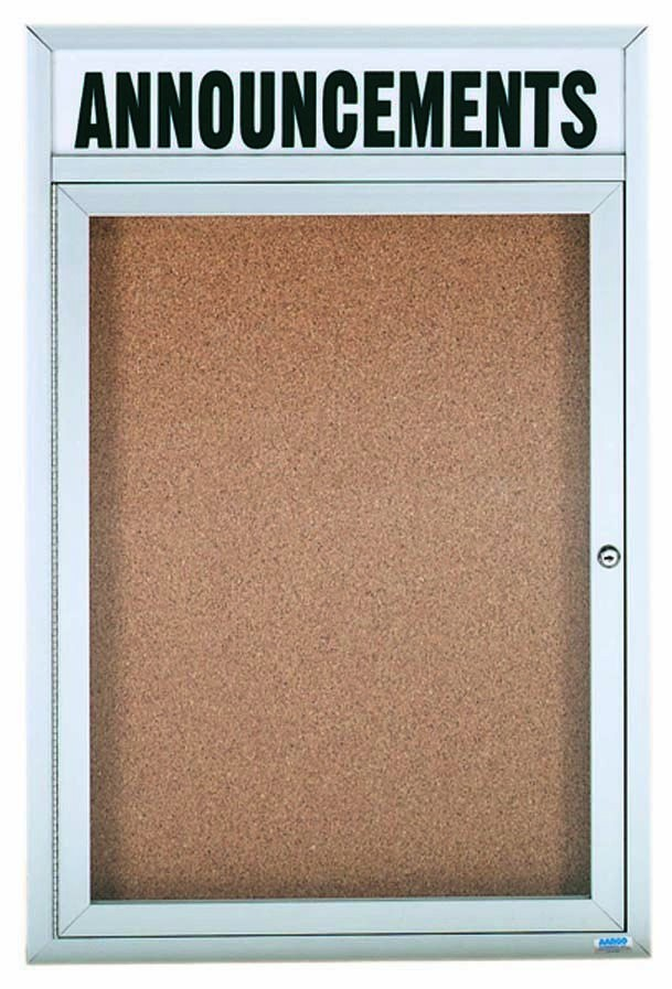 Enclosed Aluminum Indoor 1-Door Bulletin Board Cabinet W/header - 36