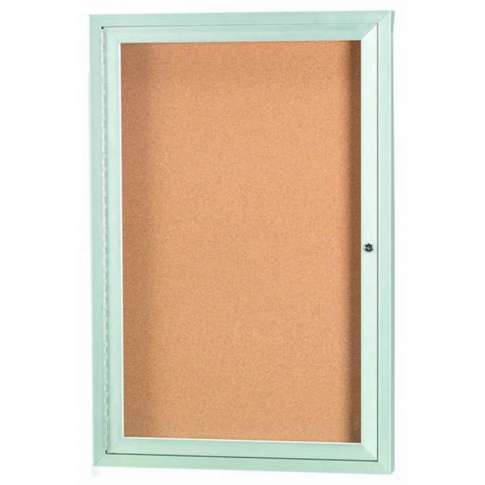 Enclosed Aluminum Indoor 1-Door Bulletin Board Cabinet - 24