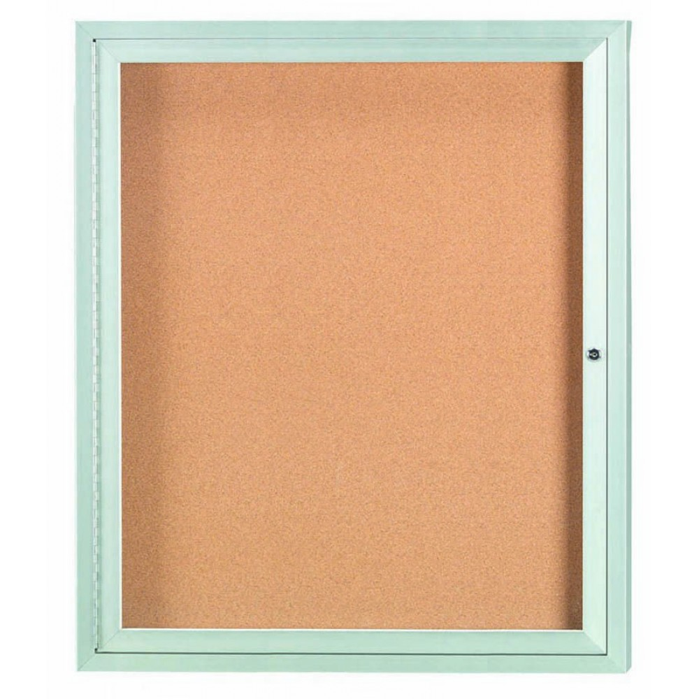 Enclosed Aluminum Indoor 1-Door Bulletin Board Cabinet - 36