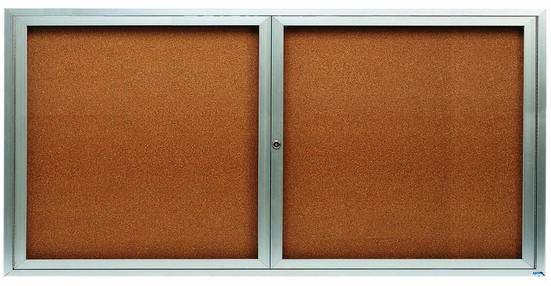 Enclosed Aluminum Indoor 2-Door Bulletin Board Cabinet - 36
