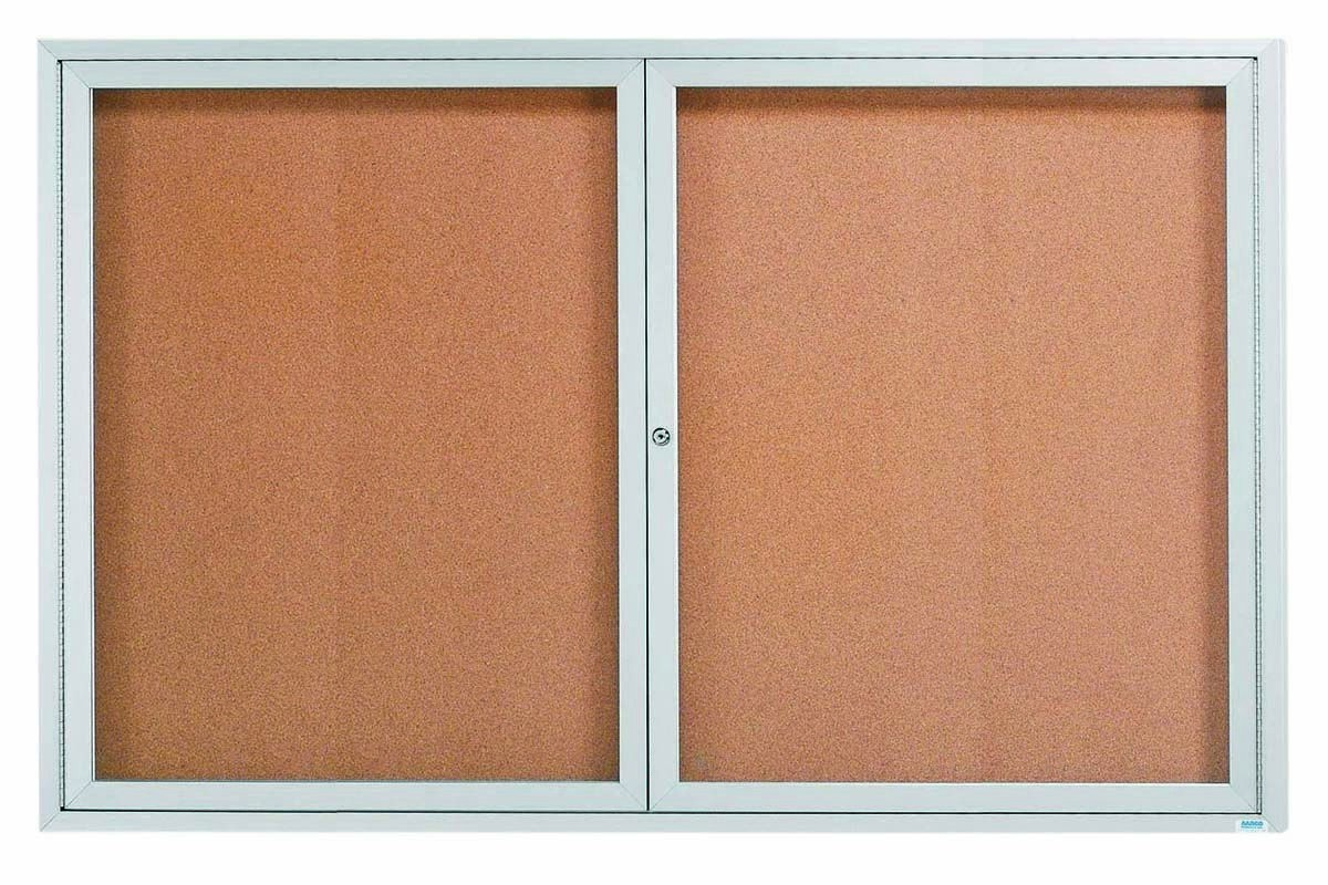Enclosed Aluminum Indoor 2-Door Bulletin Board Cabinet - 48
