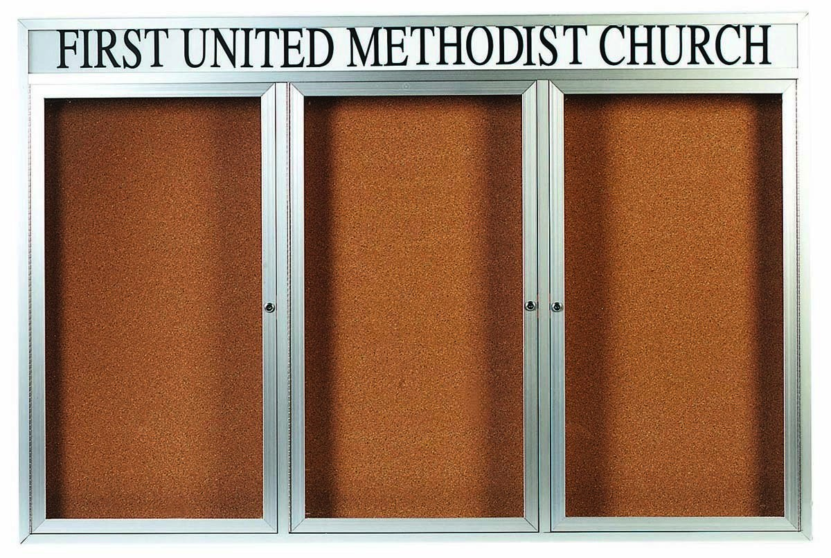 """Aarco Products DCC4872-3RH 3 Door Indoor Enclosed Bulletin Board and Aluminum Frame and Header, 48""""H x 72""""W"""