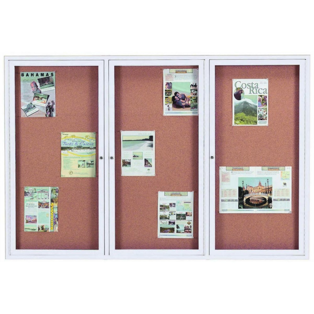 "Aarco Products DCC4872-3R 3 Door Indoor Enclosed Bulletin Board with Aluminum Frame, 48""H x 72""W"