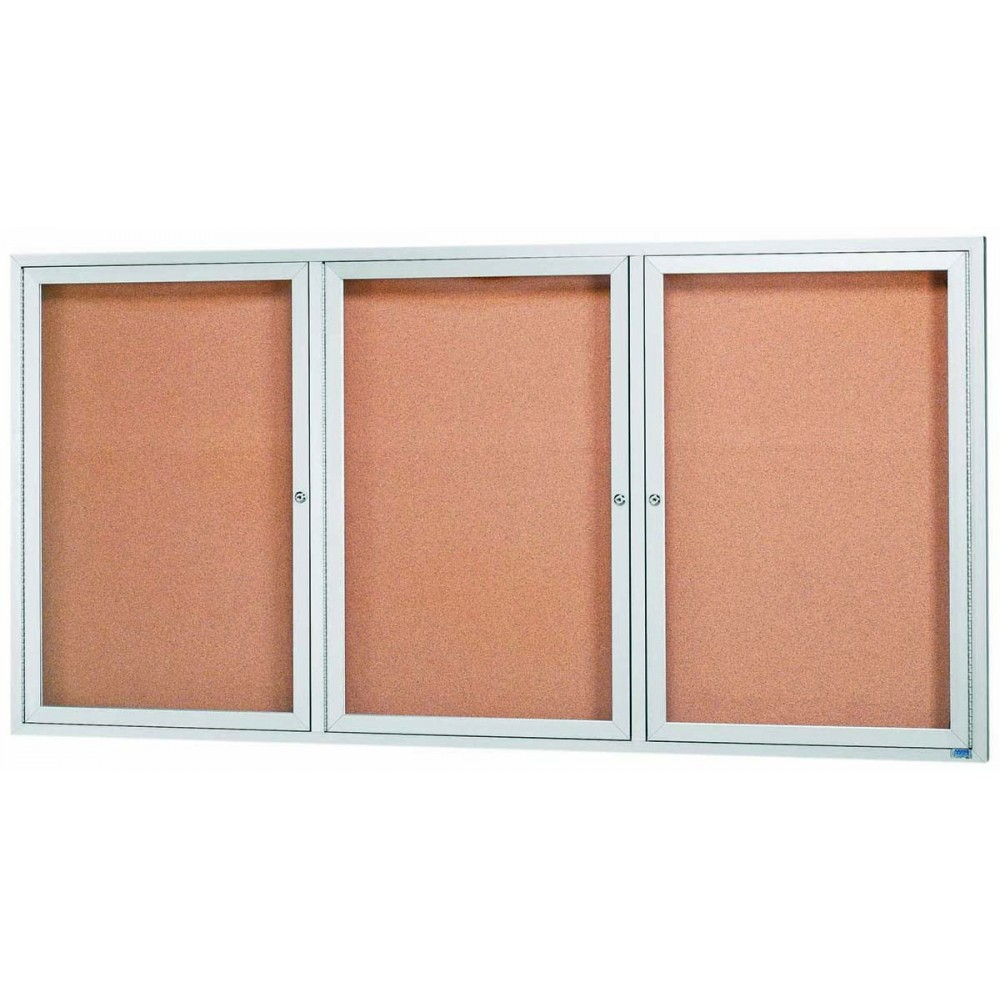 "Aarco Products DCC3672-3R 3 Door Indoor Enclosed Bulletin Board with Aluminum Frame, 36""H x 72""W"