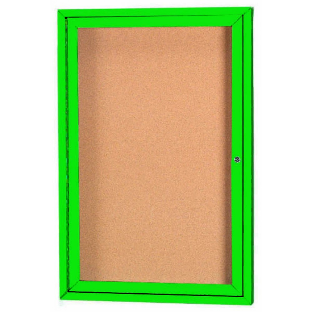 "Aarco Products DCC3624RG 1 Door Indoor Enclosed Bulletin Board with Green Powder Coated Aluminum Frame, 36""H x 24""W"