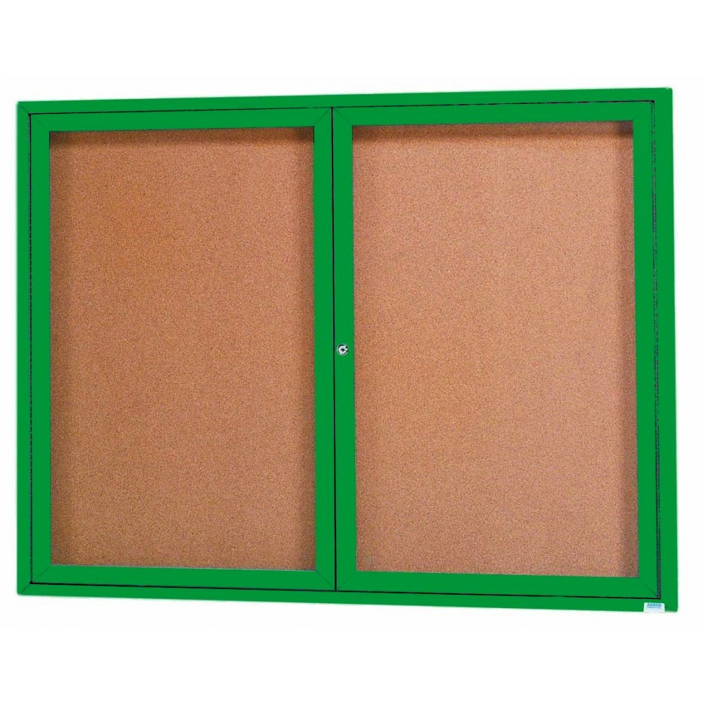 "Aarco Products DCC3648RG 2-Door Indoor Enclosed Bulletin Board with Green Powder Coated Aluminum Frame, 336""H x 48""W"