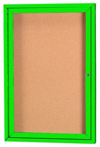 "Aarco Products DCC2418RG 1 Door Indoor Enclosed Bulletin Board with Green Powder Coated Aluminum Frame, 24""H x 18""W"
