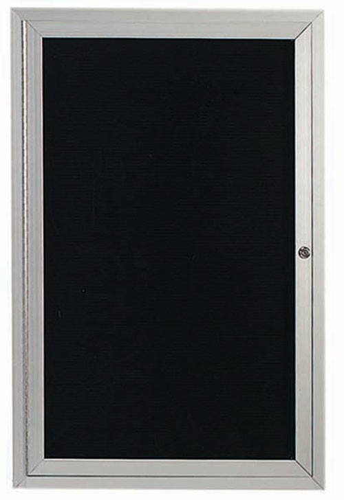 "Aarco Products ADC2418L 1-Door Enclosed Aluminum Directory Cabinet, 24""H x 18""W"