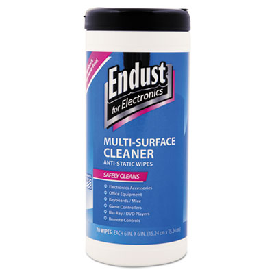 Endust Antistatic Premoistened Wipes for Electronics, 70 Wipes/Canister