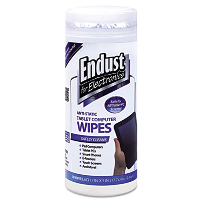 Endust Tablet and Laptop Cleaning Wipes, Unscented, 70 Wipes/Canister